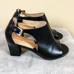 Adrienne Vittadini Leather Peep Toe Heels Sz 6M